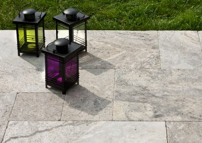 Silver travertine french pattern tumbled and brushed surface
