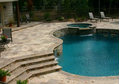 Noce travertine pool pavers