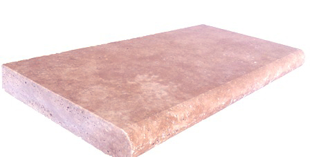 tumbled and unfilled silver travertine pool coping pavers bullnose
