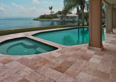 Walnut travertine pool tiles