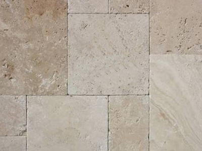 Ivory Travertine French Pattern Pavers