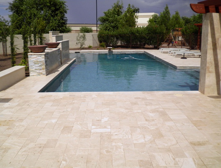 Pool coping tiles pavers melbourne travertine tiles for Best pavers for pool deck