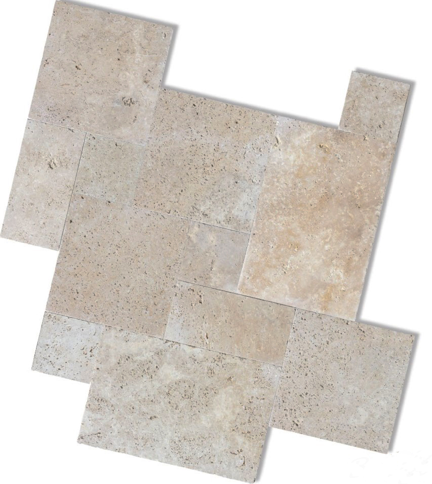 tumbled and unfilled ivory travertine french pattern price $49m2