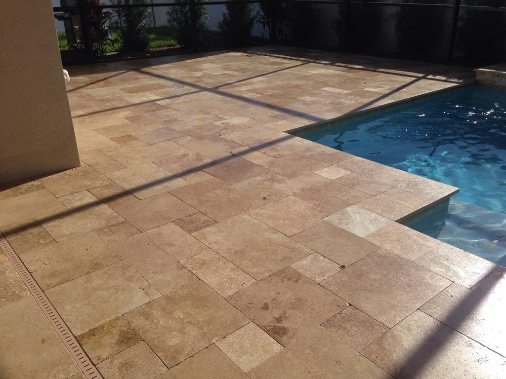 Walnut Travertine Drop Face Pool Coping Tiles Tumbled And