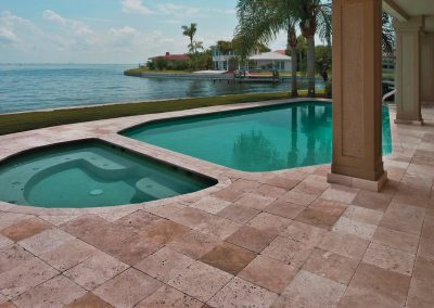 Walnut travertine pool tiles